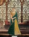 Dark Green Raw Silk Embroidered Saree