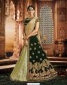 Dark Green Jacquard Silk Embroidered Saree