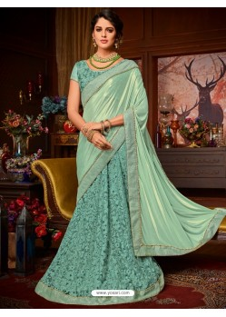 Sea Green Net Embroidered Saree