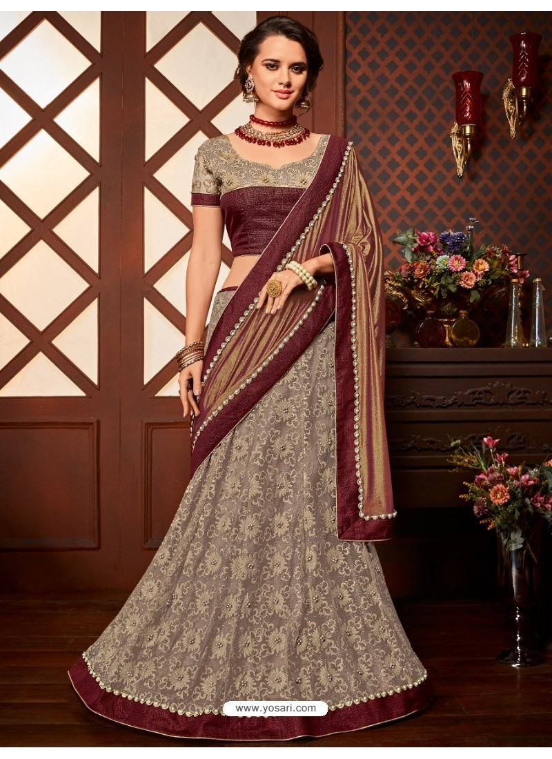 Maroon Net Embroidered Saree