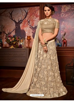 Beige Net Embroidered Saree