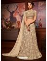 Beige Net Embroidered Saree