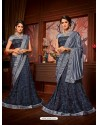 Navy Blue Net Embroidered Saree