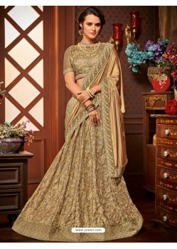 Golden Net Embroidered Saree
