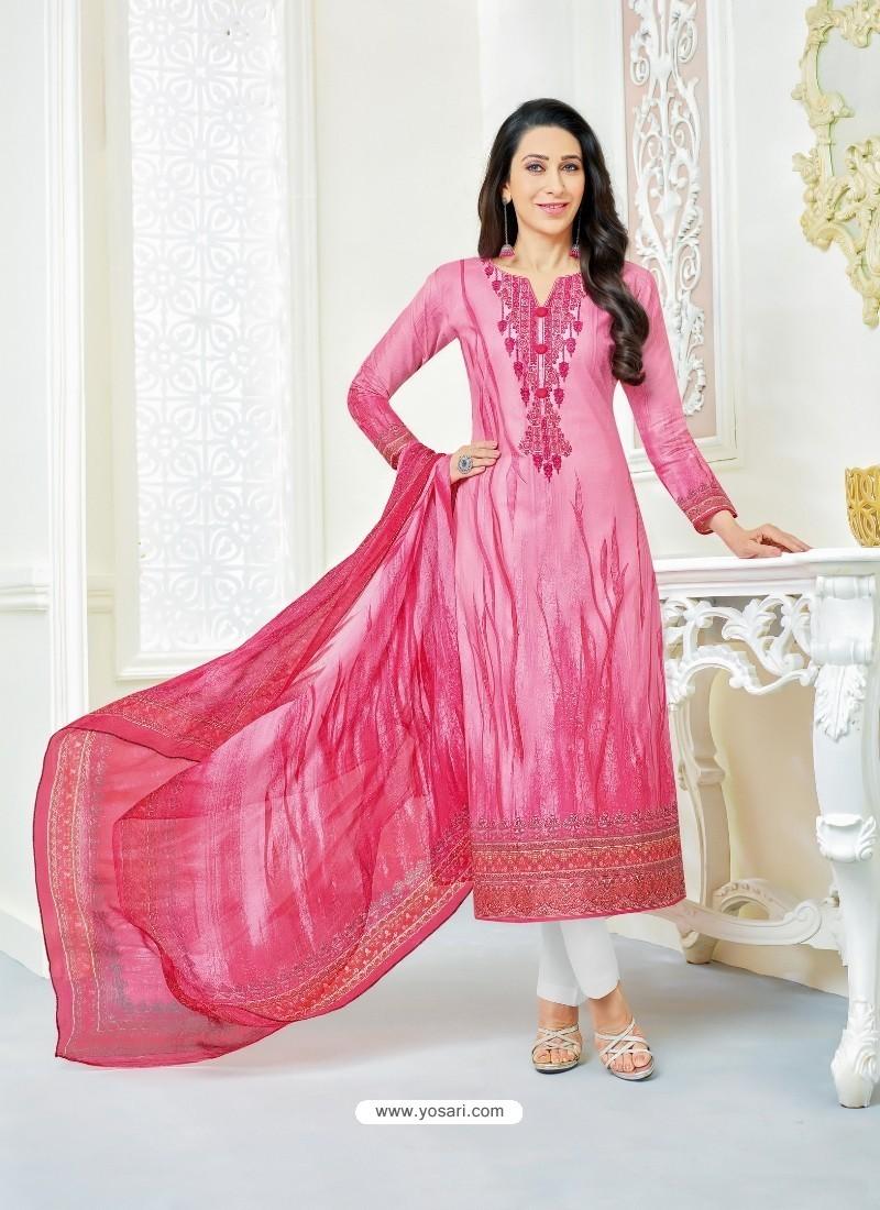 Karisma Kapoor Light Pink Cotton Print Work Suit