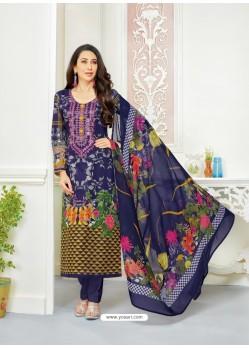 Karisma Kapoor Navy Blue Cotton Print Work Suit