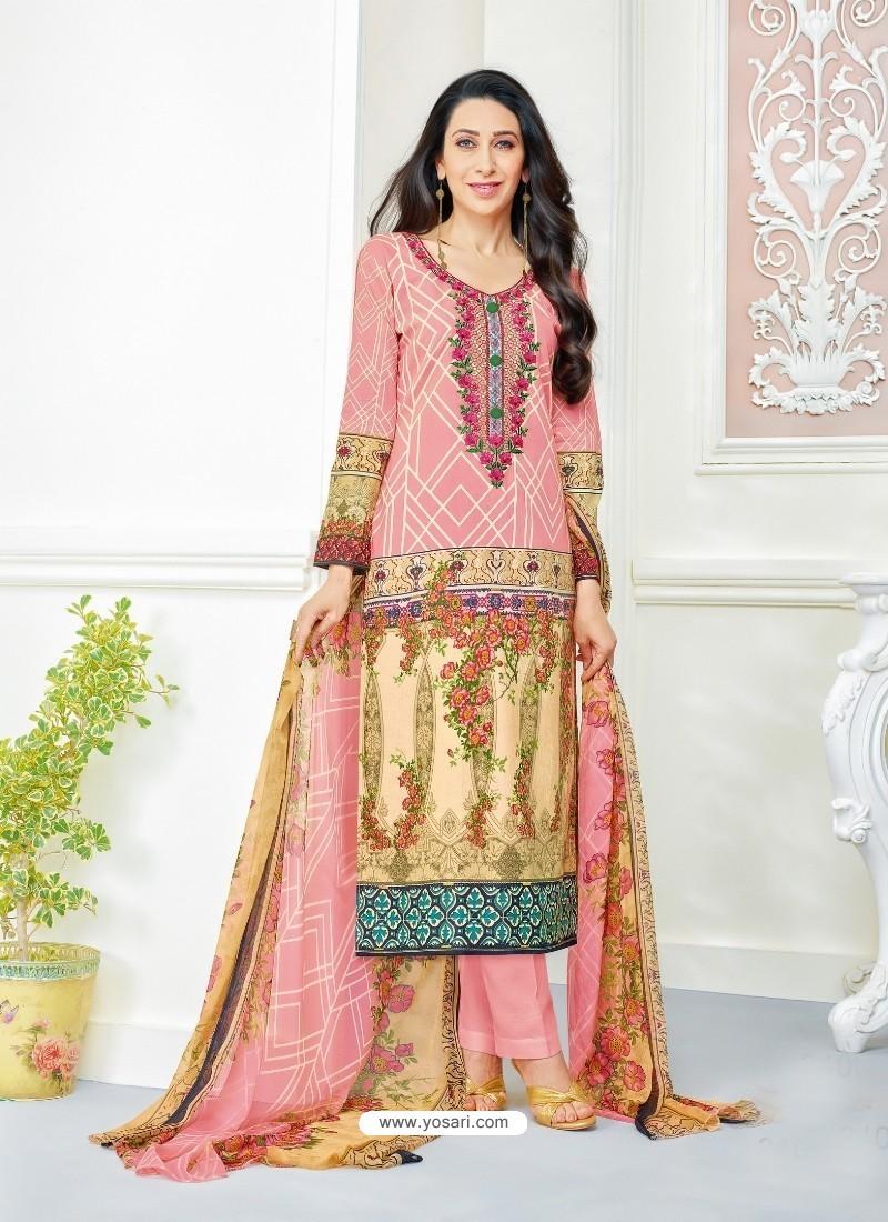 Karisma Kapoor Baby pink Cotton Print Work Suit