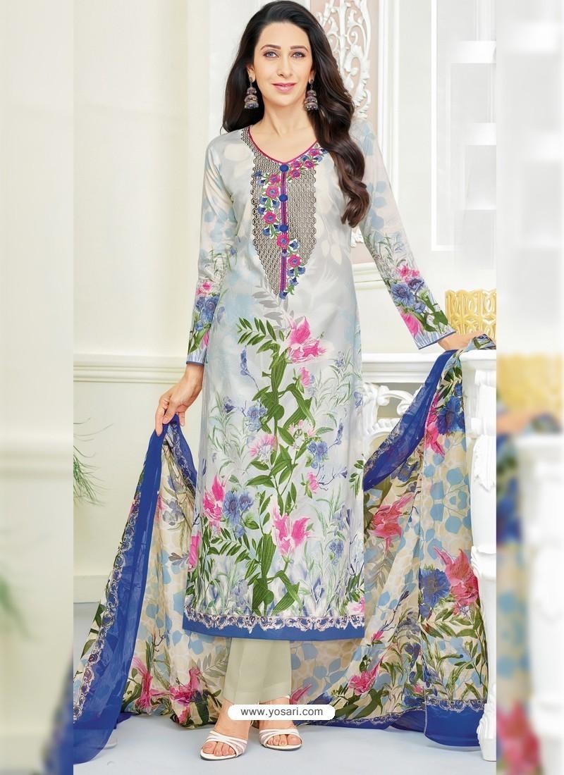 Karisma Kapoor Off White Cotton Print Work Suit