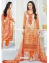 Karisma Kapoor Orange Cotton Print Work Suit