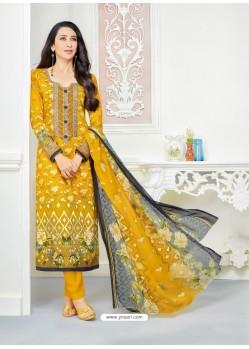 Karisma Kapoor Yellow Cotton Print Work Suit