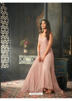 Baby Pink Net Embroidered Floor Length Suit