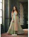 Olive Green Net Embroidered Floor Length Suit