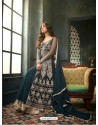 Peacock Blue Net Embroidered Floor Length Suit