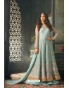 Sky Blue Net Embroidered Floor Length Suit