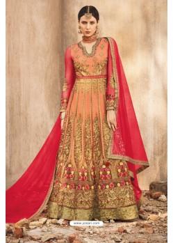 Eyeful Orange Net Embroidered Floor Length Suit