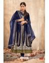 Modern Navy Blue Embroidered Anarkali Suit