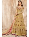 Gorgeous Beige Net Embroidered Floor Length Suit