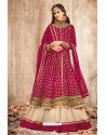 Incredible Fuchsia Net Embroidered Floor Length Suit
