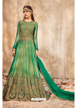 Magnificent Jade Green Net Embroidered Floor Length Suit