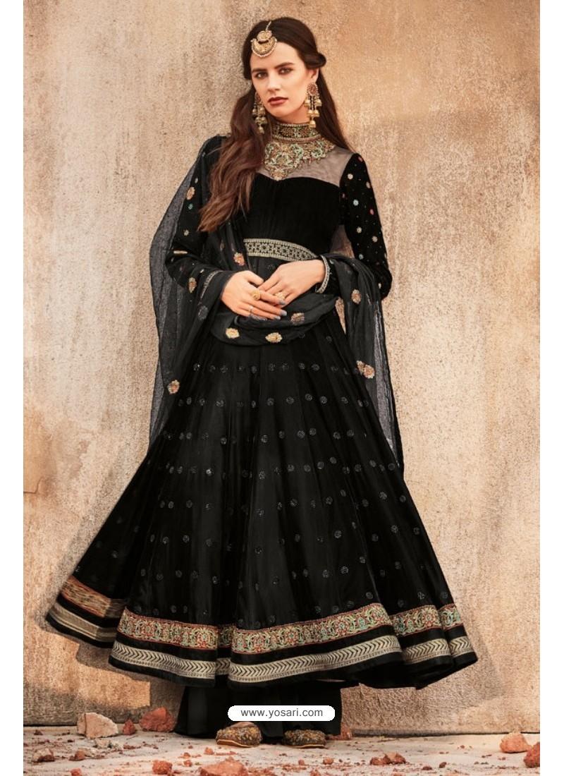 Markable Black Embroidered Anarkali Suit