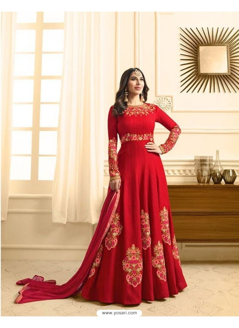 Decent Red Embroidered Floor Length Suit