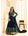 Lustrous Navy Blue Embroidered Floor Length Suit