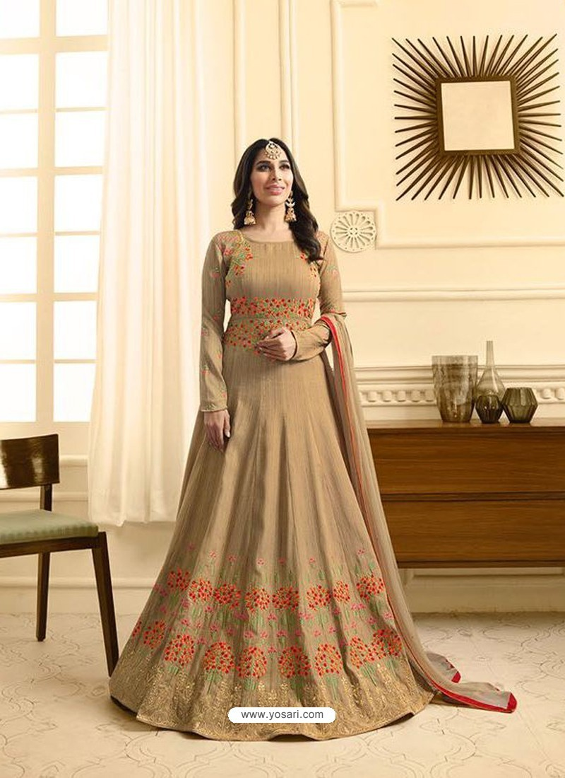 Flawless Beige Embroidered Floor Length Suit