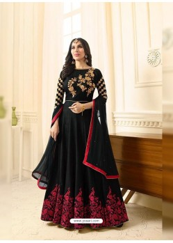 Competent Black Embroidered Floor Length Suit