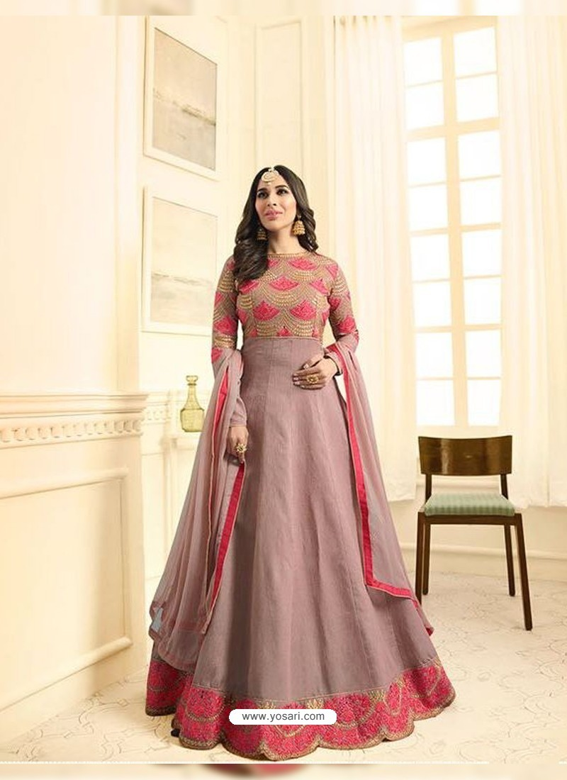 Dusty Pink Embroidered Floor Length Suit