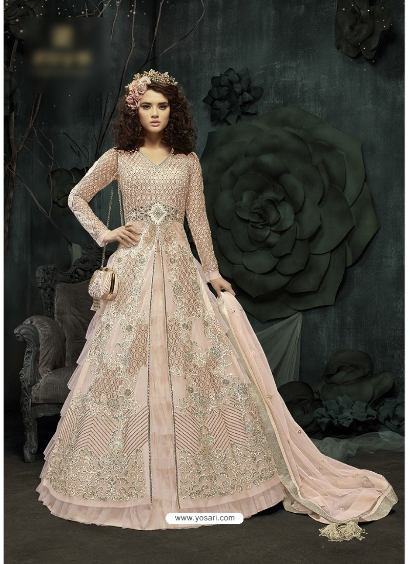 Groovy Off White Embroidered Floor Length Suit