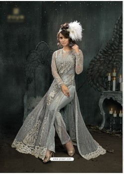 Deserving Grey Embroidered Floor Length Suit