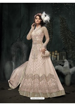 Delightful Baby Pink Embroidered Floor Length Suit