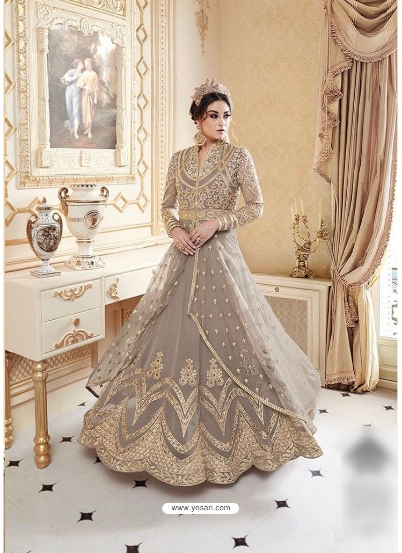 Beautiful Grey Embroidered Floor Length Suit