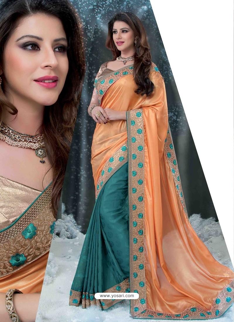 Orange And Green Embroidered Work Designer Saree