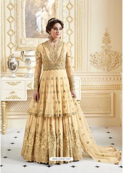 Beauteous Cream Embroidered Floor Length Suit