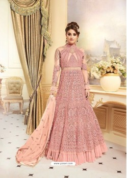 Girlish Peach Embroidered Floor Length Suit