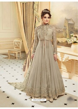 Fantastic Taupe Embroidered Floor Length Suit