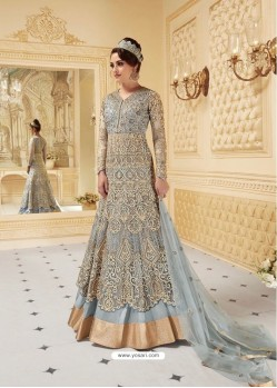 Fashionistic Grey Embroidered Floor Length Suit