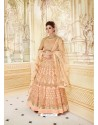 Eye Catching Peach Embroidered Floor Length Suit