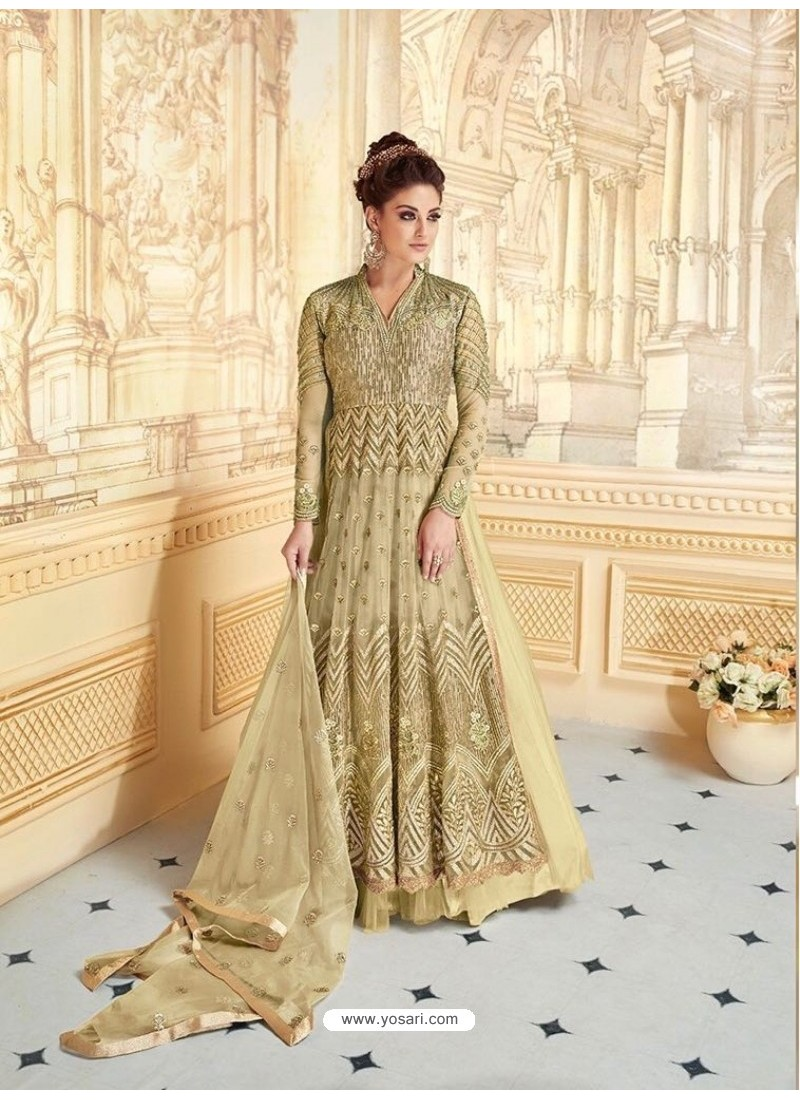Perfect Olive Green Embroidered Floor Length Suit