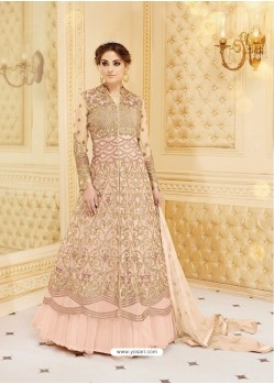 Observable Baby Pink Embroidered Floor Length Suit