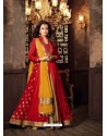 Red Viscose Modal Embroidered Floor Length Suit