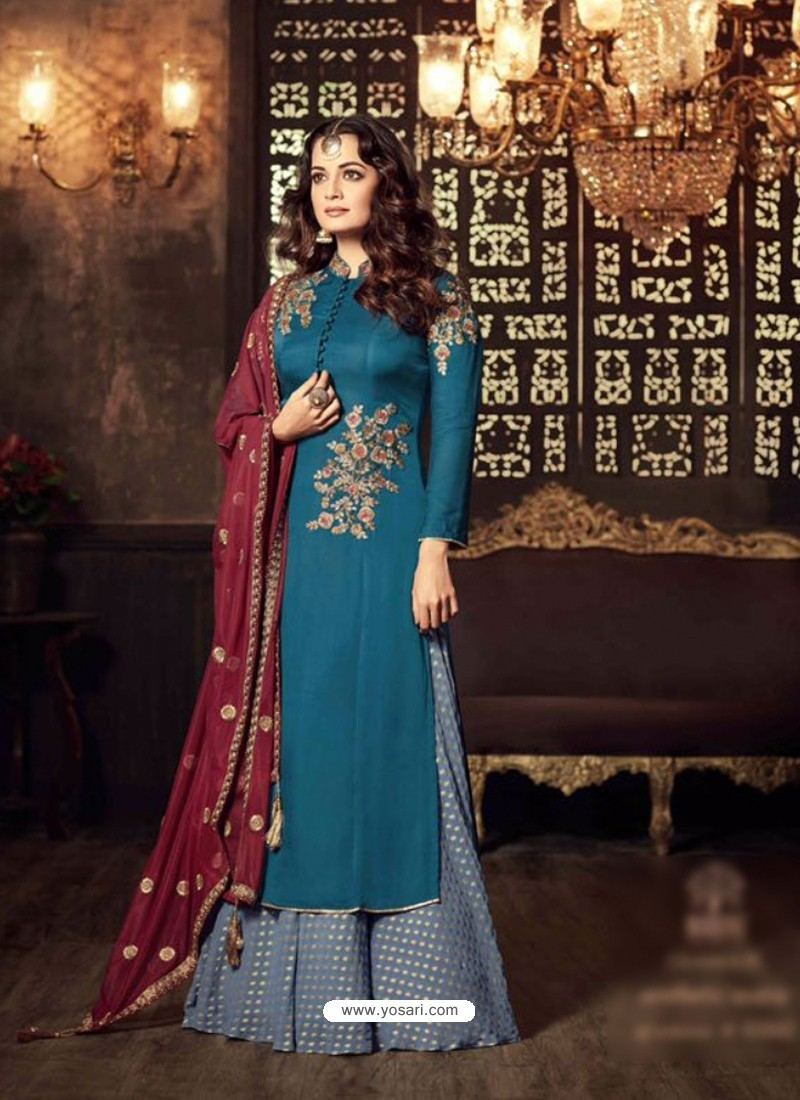 Tealblue Embroidered Floor Length Suit
