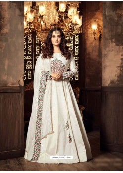 White Embroidered Floor Length Suit