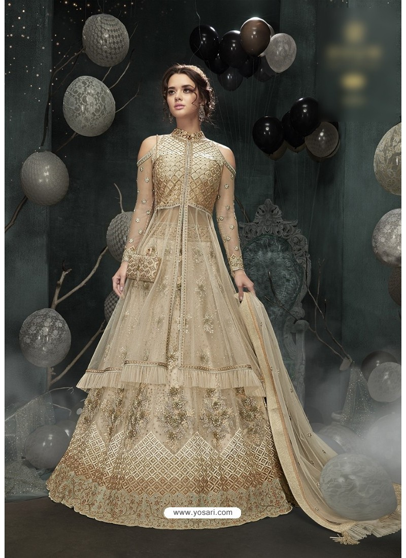 Mesmeric Off White Embroidered Floor Length Suit