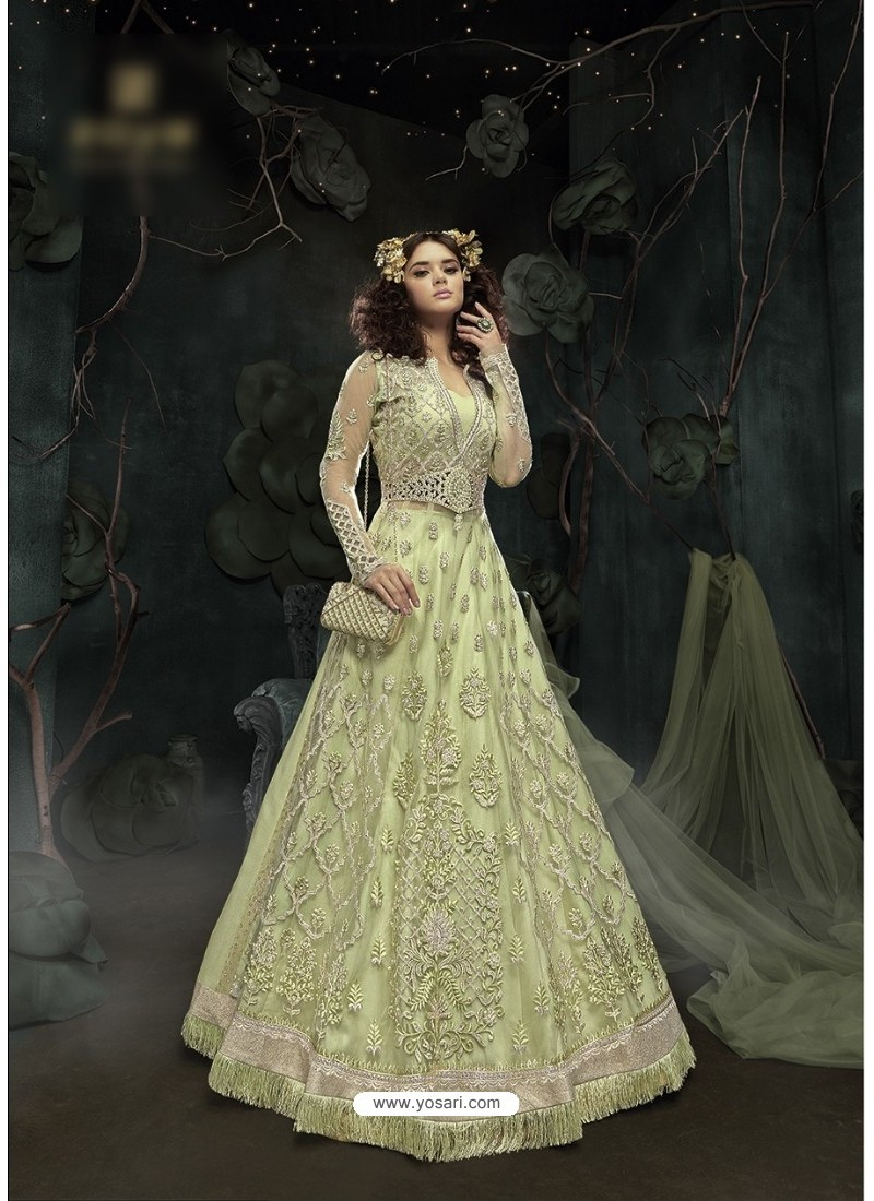 Glowing Sea Green Embroidered Floor Length Suit