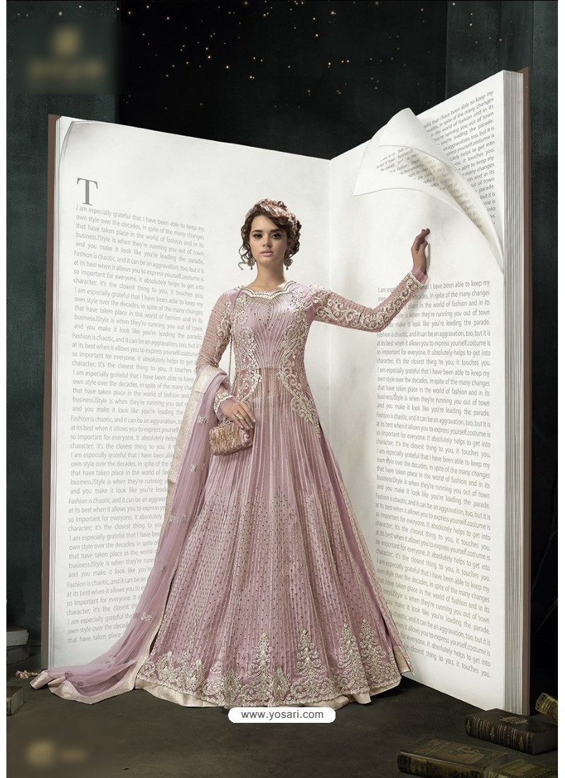 Exceptional Dusty Pink Embroidered Floor Length Suit