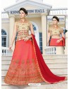 Red Silk Embroidered Lehenga Choli