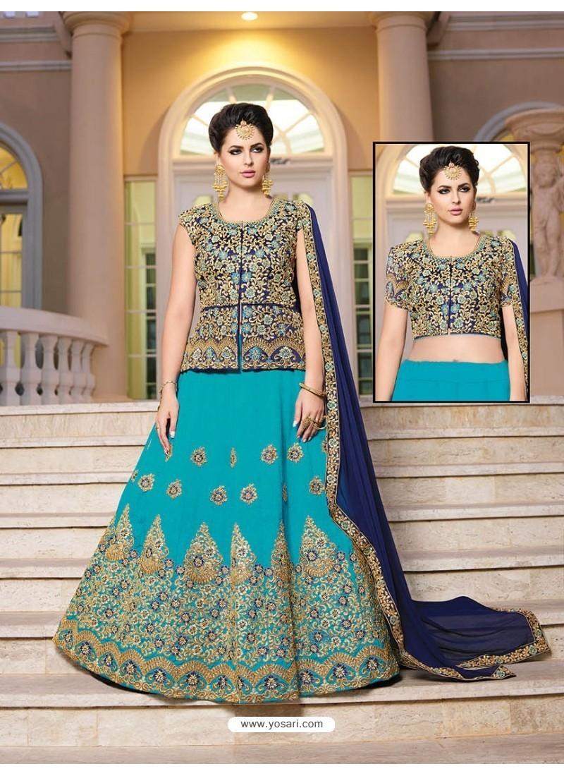 Turquoise Silk Embroidered Lehenga Choli
