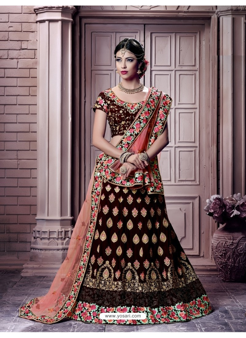 Deep Scarlet Velvet Embroidered Lehenga Choli
